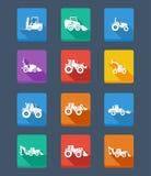 Tracteur et silhouettes de collection de vecteur. icônes Photographie stock libre de droits