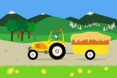Tracteur jaune avec une remorque de foin illustration de vecteur