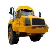 Tracteur jaune d'isolement au-dessus du blanc photographie stock libre de droits