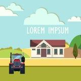 Tracteur labourant le champ en automne Illustration Libre de Droits
