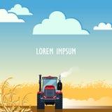 Tracteur labourant le champ en automne Illustration Stock