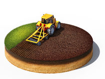 Tracteur préparant la terre pour l'ensemencement illustration libre de droits