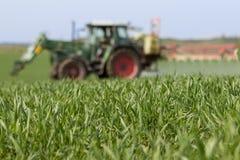 Tracteur pulvérisant le champ vert - fond d'agriculture photos libres de droits