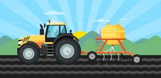 Tracteur semant des cultures au paysage de champ au printemps