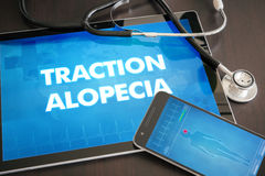 Traction alopecia (cutaneous disease) diagnosis medical concept. On tablet screen with stethoscope Stock Image