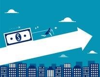 Traction de femme d'affaires l'argent Vecteur IL de finances d'affaires de concept illustration libre de droits