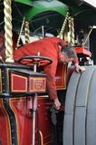 Traction engine and driver. Stock Image