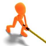 Traction mâle symbolique de caractère de 3d Toon une longue corde Images stock