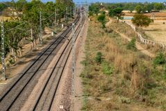 Traction power line rail corridor. Railroad tracks royalty free stock images
