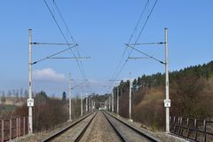 Traction power line rail corridor. Railroad tracks. Stock Photography