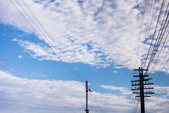Traction power line railway corridor to station Royalty Free Stock Photo
