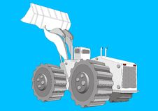 Tractor. A  illustration of a tractor on blue background Stock Photography