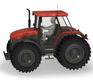 Tractor. 3d render of cartoon character with tractor machine Royalty Free Stock Photography