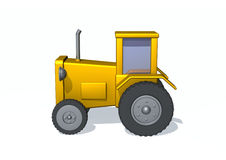 Tractor. 3d render illustration of a tractor on white Royalty Free Stock Photo