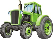 Tractor. Old green tractor for agriculture works Stock Image