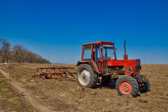 Tractor. Spring plowing fields around the town of Shumen Royalty Free Stock Photography