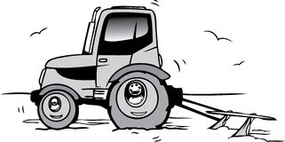 Tractor. Hand drawn cartoon nice tractor Stock Photos