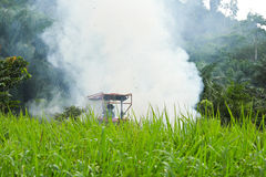 Tractor. S are wading into the smoke Royalty Free Stock Image
