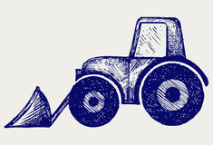 Tractor. Doodle style. Vector sketch stock illustration