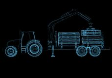 Tractor. (3D x-ray blue transparent isolated on black Royalty Free Stock Image