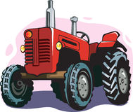 Tractor. A red coloured tractor on colourful back ground Royalty Free Stock Images