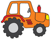 Tractor. Cartoon sketch painted in child style Stock Photos