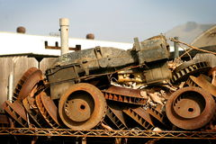 Tractor. Some junk in a junk yard when viewing from the right angle builds an old tractor Royalty Free Stock Photos