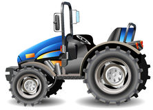 Tractor. Agricultural machine, tractor in dark blue color, isolated object, vector an illustration Stock Photography