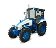Tractor. New blue tractor. Isolated with clipping path Royalty Free Stock Photos