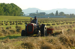 Tractor. Working On Filed make Bale royalty free stock photo