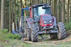 Tractor adapted to work in the woods, south Bohemia Stock Photo