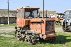 Tractor. Agricultural machinery. Russia, Temryuk - 15 July 2015: Tractor. Agricultural machinery tractor. Parking of tractor agricultural machinery. The picture Royalty Free Stock Photography