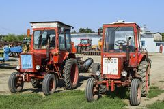 Tractor. Agricultural machinery. Russia, Temryuk - 15 July 2015: Tractor. Agricultural machinery tractor. Parking of tractor agricultural machinery. The picture Stock Photography
