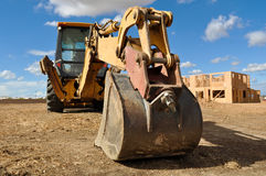 Tractor Backhoe on a Construction Site Royalty Free Stock Photos