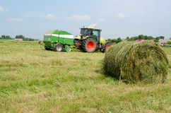 Tractor bailer collect hay in agriculture field Stock Photography