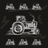 Tractor on balck background Royalty Free Stock Photo