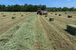 Tractor Baling in Summer Field Stock Photography