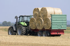Tractor with balls of hay on an agriculture trailer. Royalty Free Stock Photos