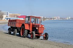 Tractor on beach Stock Photography