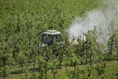 Tractor bespuitend insecticide of fungicide in appelboomgaard royalty-vrije stock fotografie