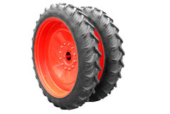 Tractor big wheel isolated. On white background Royalty Free Stock Photography