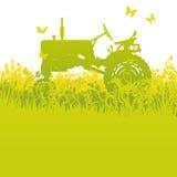 Tractor bij de oogst vector illustratie