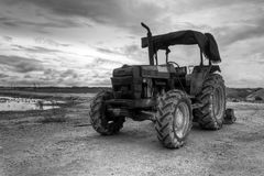 Tractor in black and white royalty free stock image