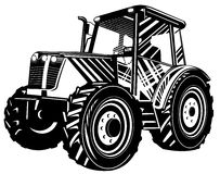 Tractor black and white Stock Image