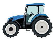 Tractor. Blue tractor a side view on white background stock illustration