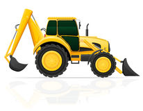 Tractor with bucket front and rear vector illustration Royalty Free Stock Images