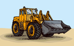 Tractor with bucket. Vector drawing Royalty Free Stock Photography