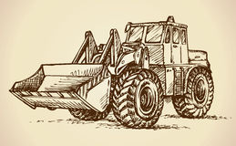 Tractor with bucket. Vector drawing Royalty Free Stock Photo