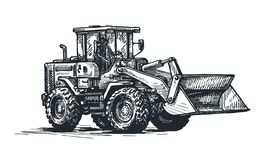 Dozer, bulldozer, tractor sketch. Excavation work, heavy construction vehicle. Hand drawn vector illustration. Tractor, bulldozer sketch. Excavation work, heavy vector illustration