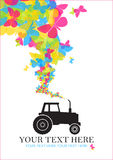 Tractor and butterflies. Royalty Free Stock Images